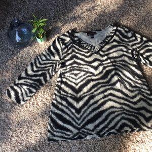 Dana Buchman 🦓 XL Zebra Stripe 3/4 Sleeve Blouse
